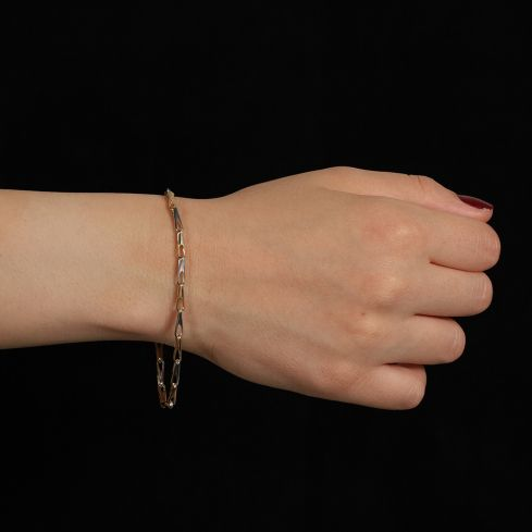 9ct White And Yellow Gold Fancy Bracelet Gold