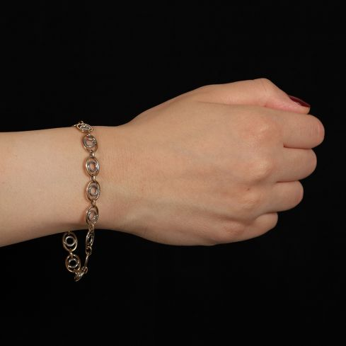 9ct Yellow And White Gold Fancy Oval Linked Bracelet Gold
