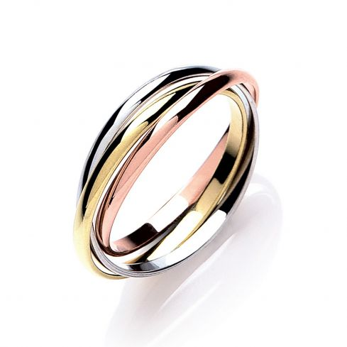 9ct Yellow White and Rose Gold Russian Style 2mm Wedding Bands