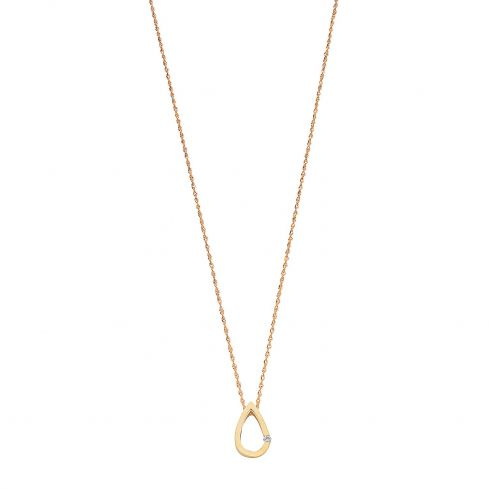9ct Yellow Gold 0.04ct Diamond Tear Drop Pendant with 18in/45cm