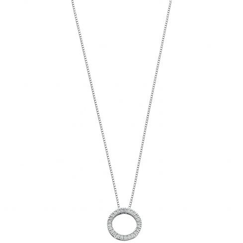 9ct White Gold 0.25ct Diamond Circle Pendant with 18in/45cm Chain