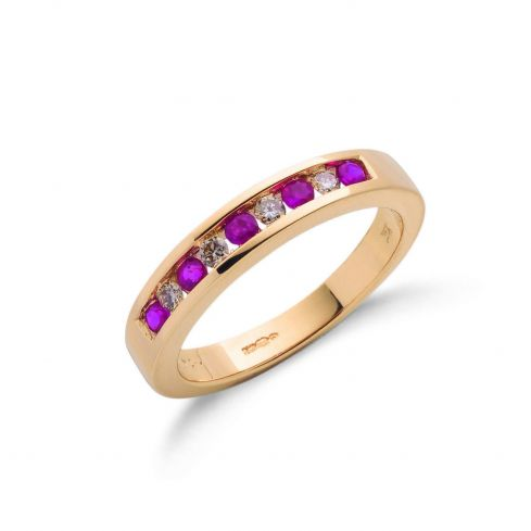 9ct Yellow Gold Diamond and Ruby Eternity Ring 4mm Ruby Gold