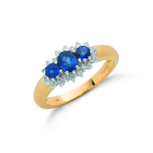 Sapphire and Diamond Cluster Ring Sapphire Gold