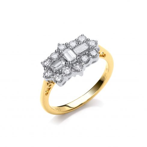 18ct Yellow Gold 1.00cts Diamond Boat/Cluster Ring Diamond Gold