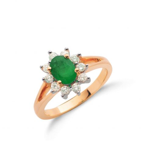 9ct Yellow Gold Diamond & Emerald Cluster Ring Emerald Gold