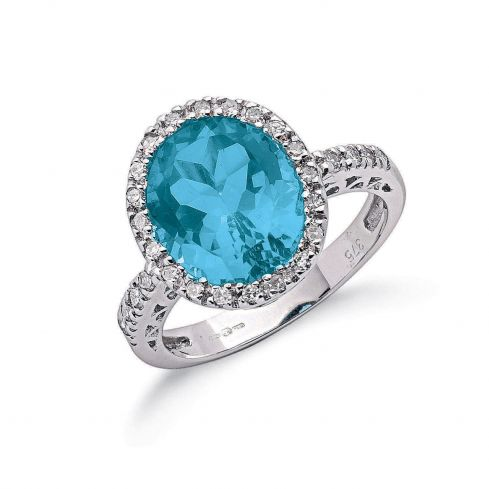 9ct White Gold 0.25cts Diamond & 5.2cts Blue Topaz Ring Topaz Gold
