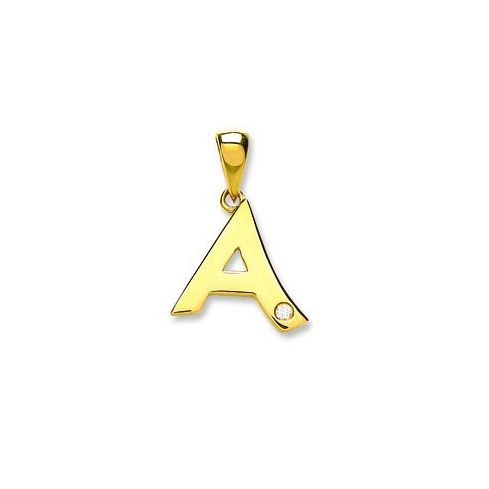 9ct Yellow Gold Diamond Initial Pendant Letter A