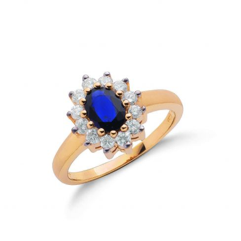 9ct Yellow Gold 0.40ct Diamond & 0.72ct Sapphire Cluster Ring Sapphire Gold