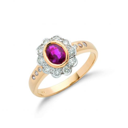 18ct Yellow Gold 0.36ct Diamond & 0.90ct Ruby Cluster Ring Ruby Gold