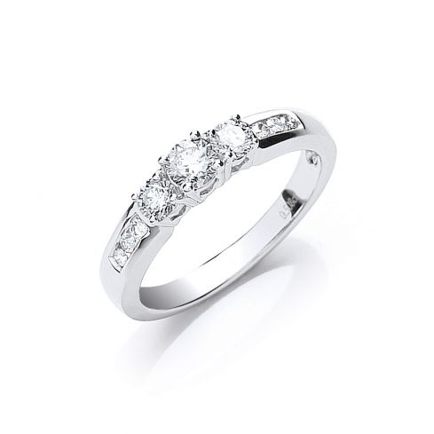 18ct White Gold 0.50ct Trilogy Ring With Diamond Shoulders Diamond Gold
