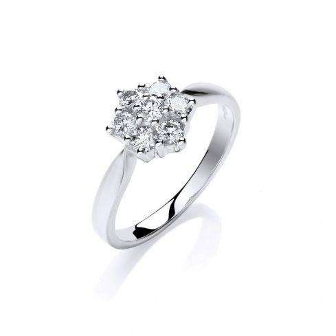 9ct White Gold 0.50cts Diamond Flower / Cluster Ring Diamond Gold