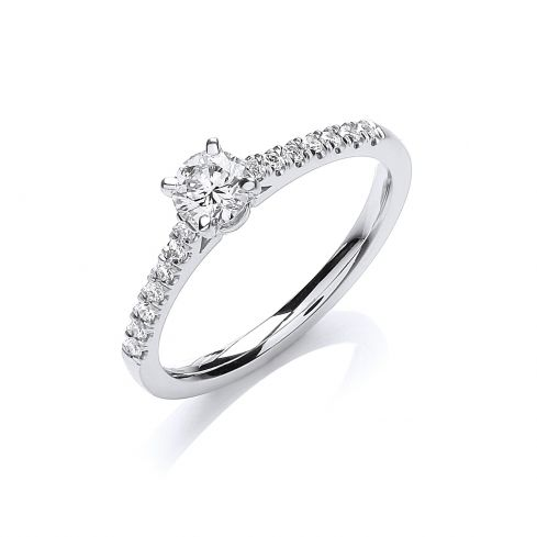 18ct White Gold 0.30cts Diamond Certificated Solitaire Ring