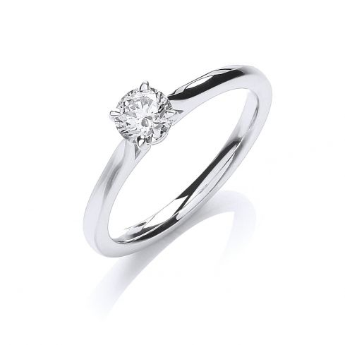18ct White Gold 0.40ct Certificated Diamond Solitaire Ring