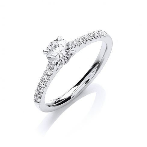 18ct White Gold 0.70cts Certificated Diamond Engagement Ring