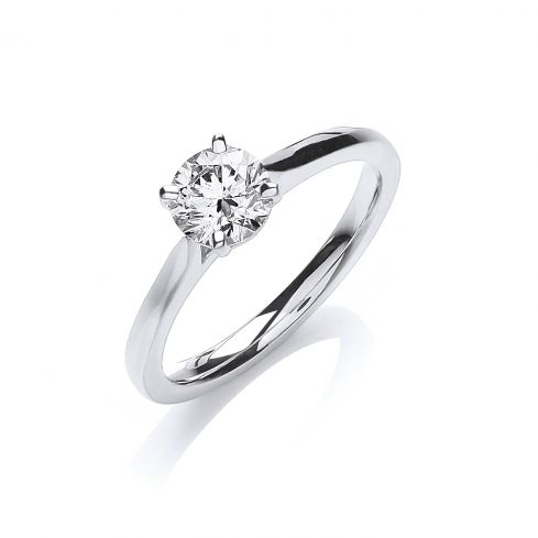 18ct White Gold 0.70ct Diamond Certificated Engagement Ring