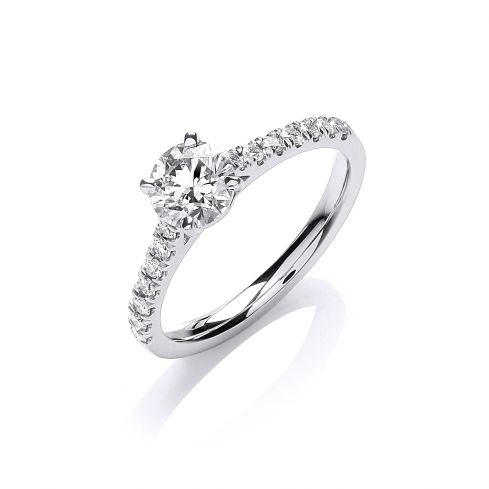 18ct White Gold 0.90ct Diamond Certificated Engagement Ring