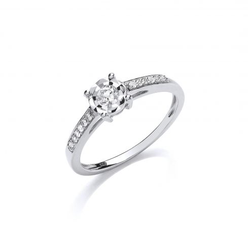 9ct White Gold 0.15ct Solitaire Ring