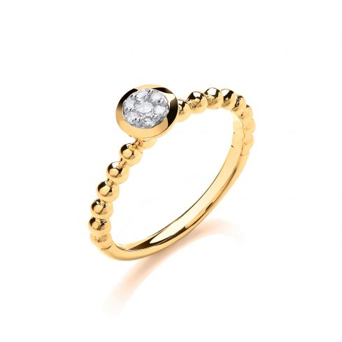 9ct Yellow Gold 0.10ct Fancy Beaded Shank Ring