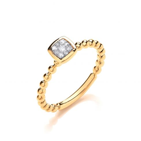 9ct Yellow Gold 0.10ct Beaded Shank Square top Ring