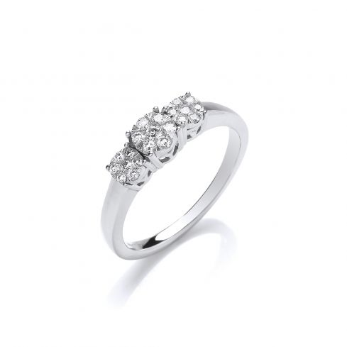 9ct White Gold Illusion Clusters Trilogy 0.25cts Diamond Ring