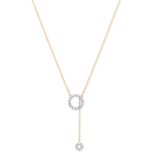 9ct Yellow Gold 0.09cts Tassel Through Circle of Life Pendant Chain