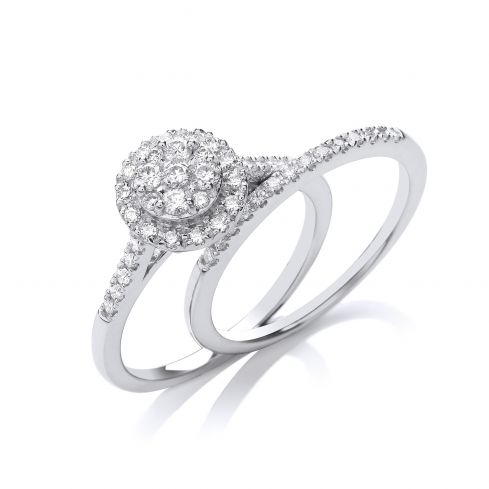 18ct Gold and diamond Halo ring with diamond band 0.50cts Diamond Gold