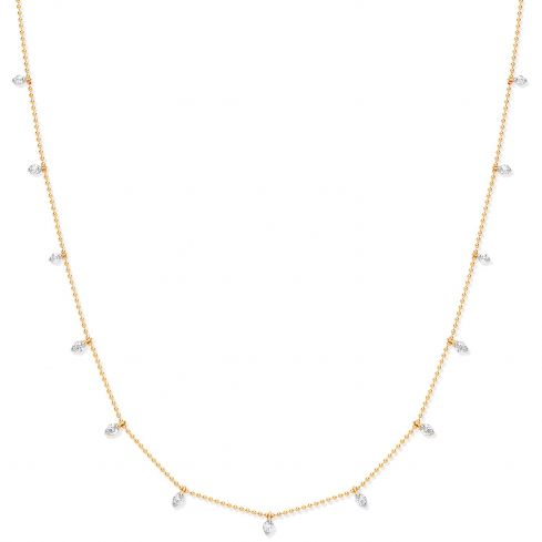 18ct Yellow Gold and  0.50cts Diamond Set Chain