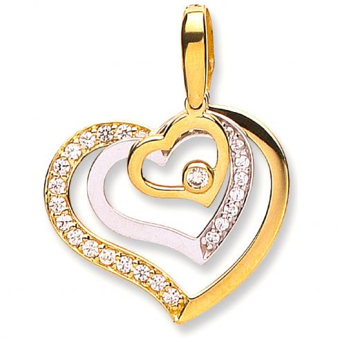 9ct White and Yellow Gold Triple CZ Heart Pendant