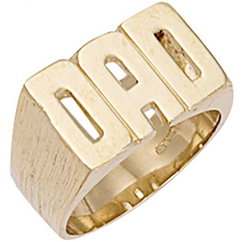 9ct Yellow Gold Barked Sides Dad Ring