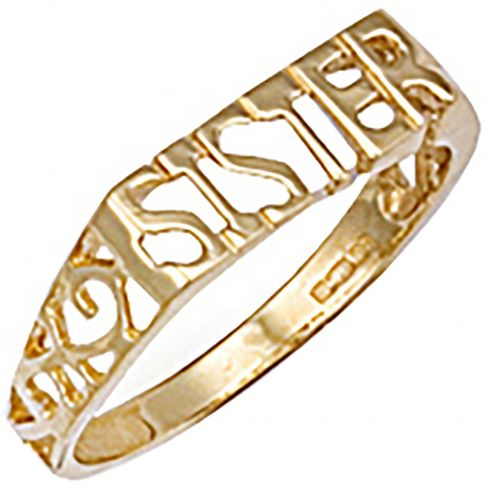 9ct Yellow Gold Scroll Sides Sister Ring
