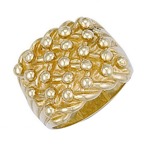 9ct Yellow Gold Woven Back 5 Row Keeper Ring 22.5mm