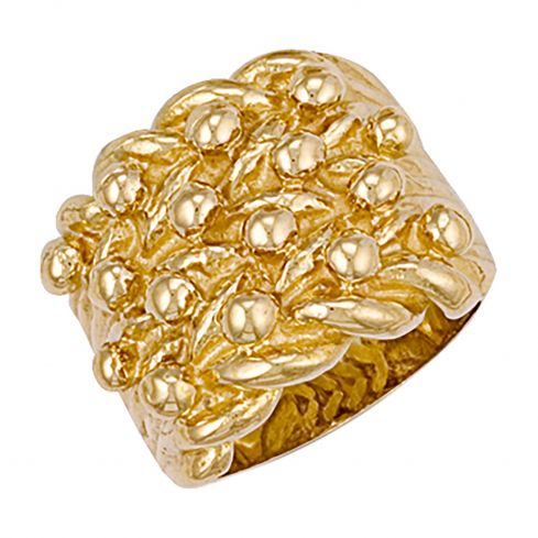 9ct Yellow Gold Woven Back 4 Row Keeper Ring 23.5mm