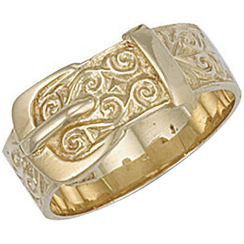 9ct Yellow Gold Patterned Buckle Ring
