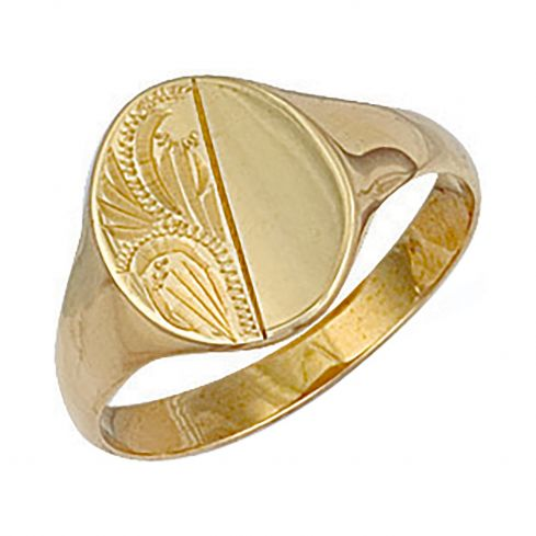9ct Yellow Gold Engraved Oval Signet Ring 12 x 12.5mm