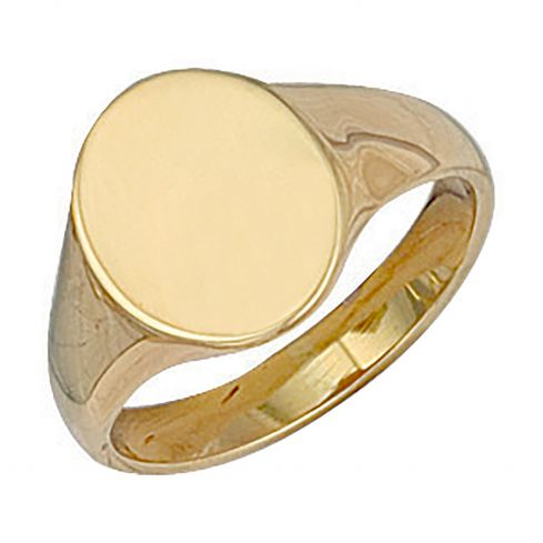 9ct Gold Oval Plain Signet Ring 11.4 x 14mm