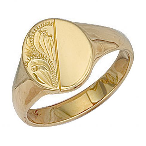 9ct Yellow Gold Oval Engraved Signet Ring