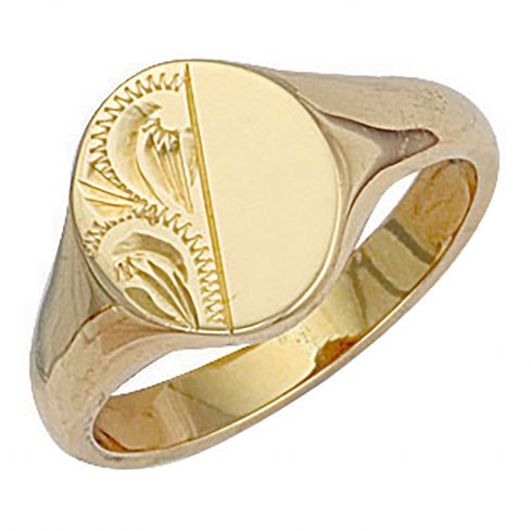 9ct Gold Oval Engraved Signet Ring 12 x 14mm