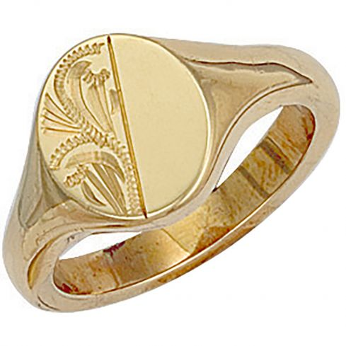9ct Yellow Gold Engraved Oval Signet Ring 13 x 14mm