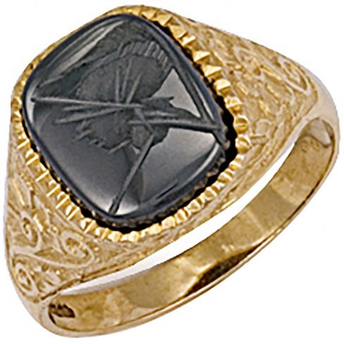 9ct Yellow Gold Patterned Side Hematite Ring