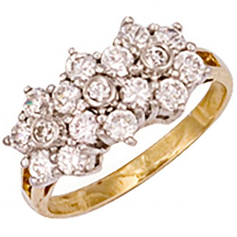 9ct Yellow Gold Cz Cluster Ring