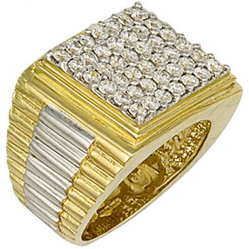9ct Yellow Gold Square Top Gents Rolex Cz Ring