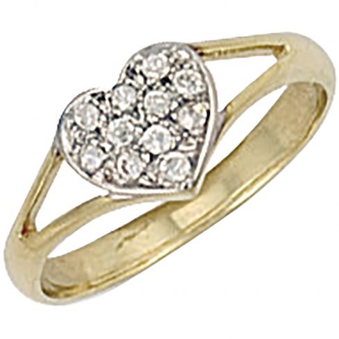 9ct Yellow Gold Cz Heart Baby Ring