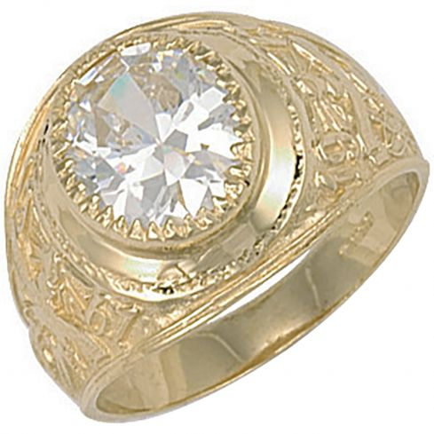 9ct Yellow Gold White Cz Stone College Ring