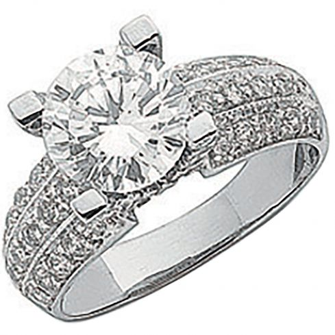 9ct White Gold Fancy Cz Ring