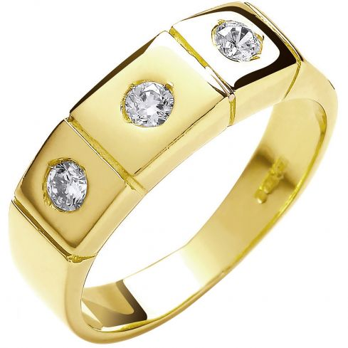9ct Yellow Gold 3 Stone Rub Over Setting CZ Ring