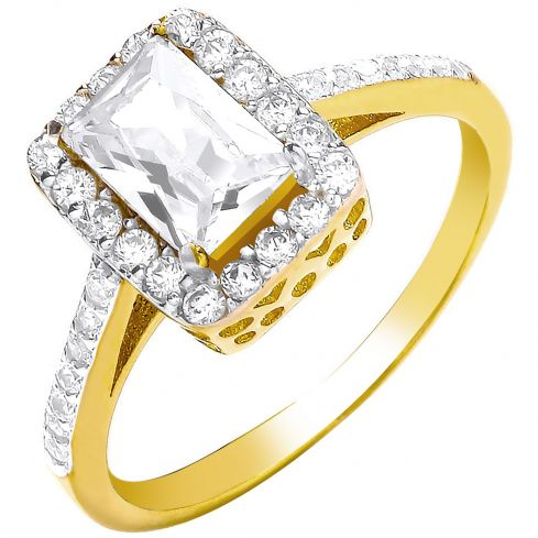 9ct Yellow Gold Ladies Emerald Centre Cz Ring