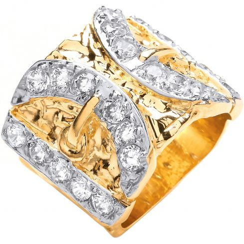 Yellow Gold CZs Buckle Gents Ring
