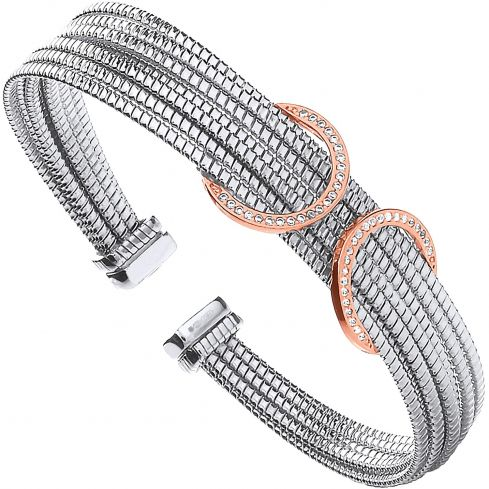 Silver With Rose Coated Cz Circles Ladies Bangle