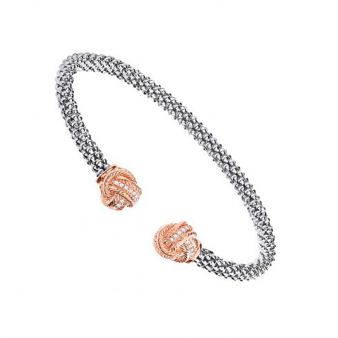 Silver Torque Bangle With Rose Coated Cz Knots