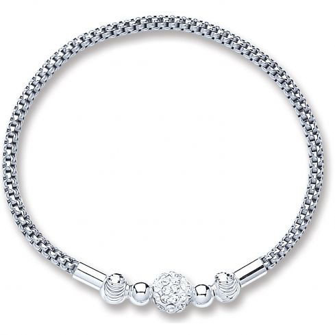 Silver Mesh With Crystal Ball Bracelet